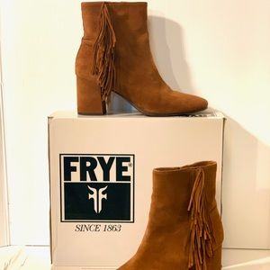 FRYE Jodi Fringe Short Booties 9.5 Brown